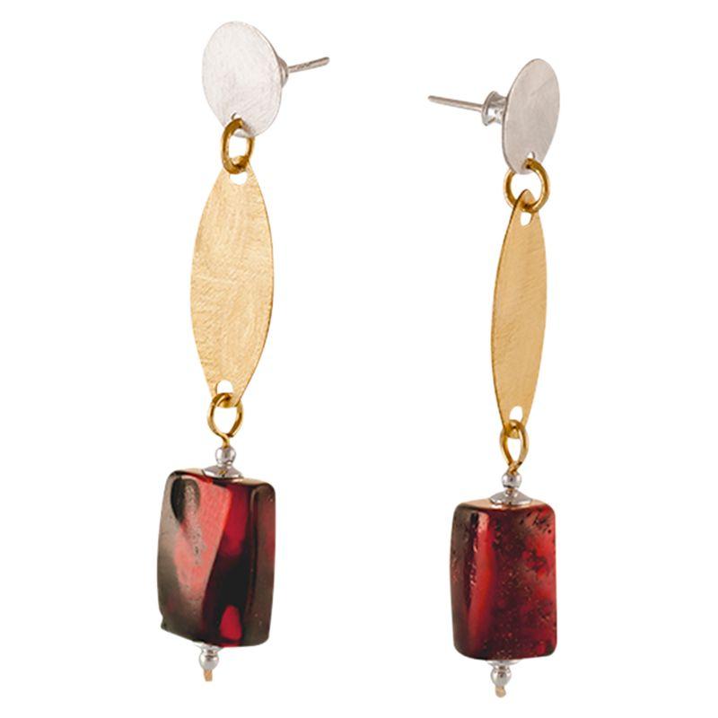 Be-Jewelled Be-Jewelled Amber Barrel Drop Earrings, Dark Cognac