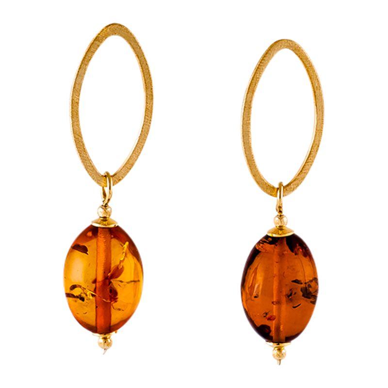 Be-Jewelled Be-Jewelled Open Oval Amber Drop Earrings, Gold/Cognac