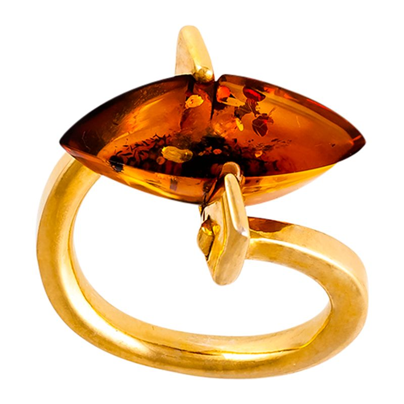 Be-Jewelled Be-Jewelled Marquise Amber Ring, Cognac