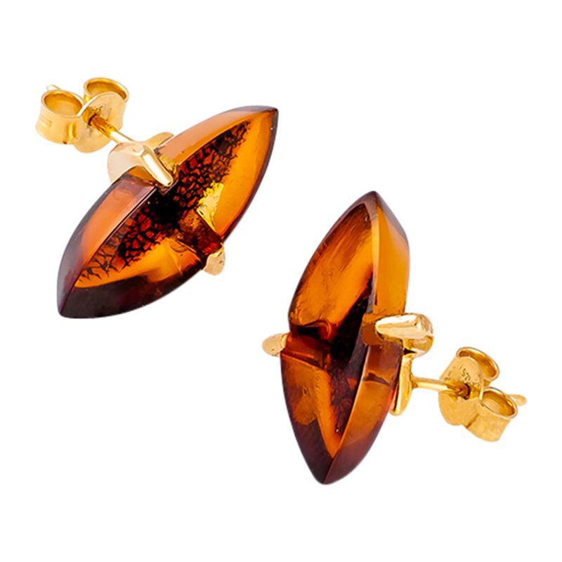 Be-Jewelled Be-Jewelled Marquise Amber Stud Earrings, Cognac