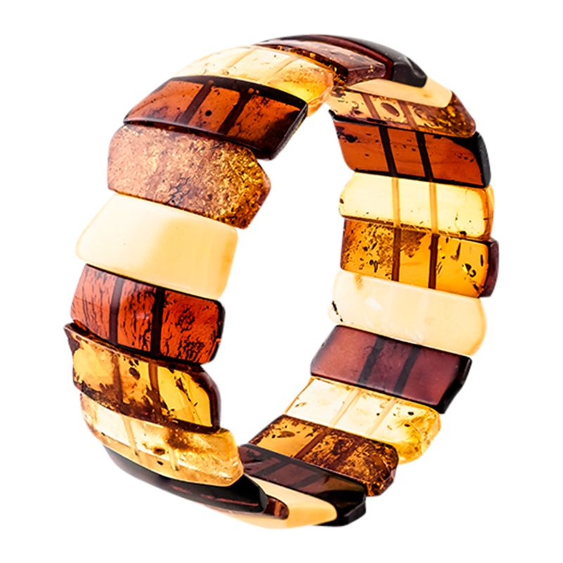 Be-Jewelled Be-Jewelled Amber Stretch Cuff, Cognac/Multi