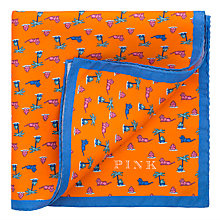 Buy Thomas Pink Lion Print Silk Pocket Square, Orange/Blue Online at johnlewis.com