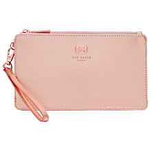 Buy Ted Baker Rizzion Leather Zip Pouch, Rose Gold Online at johnlewis.com