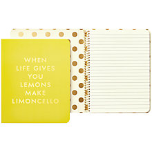 Buy kate spade new york 'When Life Gives You Lemons Make Limoncello' Spiral Notebook, Yellow Online at johnlewis.com
