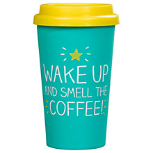 Buy Happy Jackson 'Wake Up And Smell The Coffee' Thermal Mug, Green Online at johnlewis.com