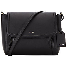 Buy DKNY Chelsea Vintage Leather Small Messenger Bag, Black Online at johnlewis.com