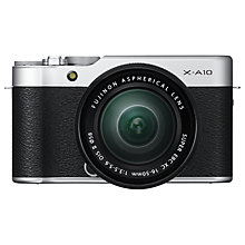 "Buy Fujifilm X-A10 Compact System Camera with XC 16-50mm OIS Lens, HD 1080p, 16.3MP, Wi-Fi, 3"" Tiltable LCD Screen, Silver Online at johnlewis.com"