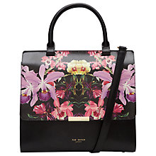 Buy Ted Baker Nimaa Lost Gardens Medium Leather Shoulder Bag, Black/Multi Online at johnlewis.com