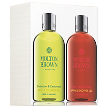 Buy Molton Brown Cardamon & Cedarwood And Flame Tree & Pimento Bath & Shower Gel Set Online at johnlewis.com