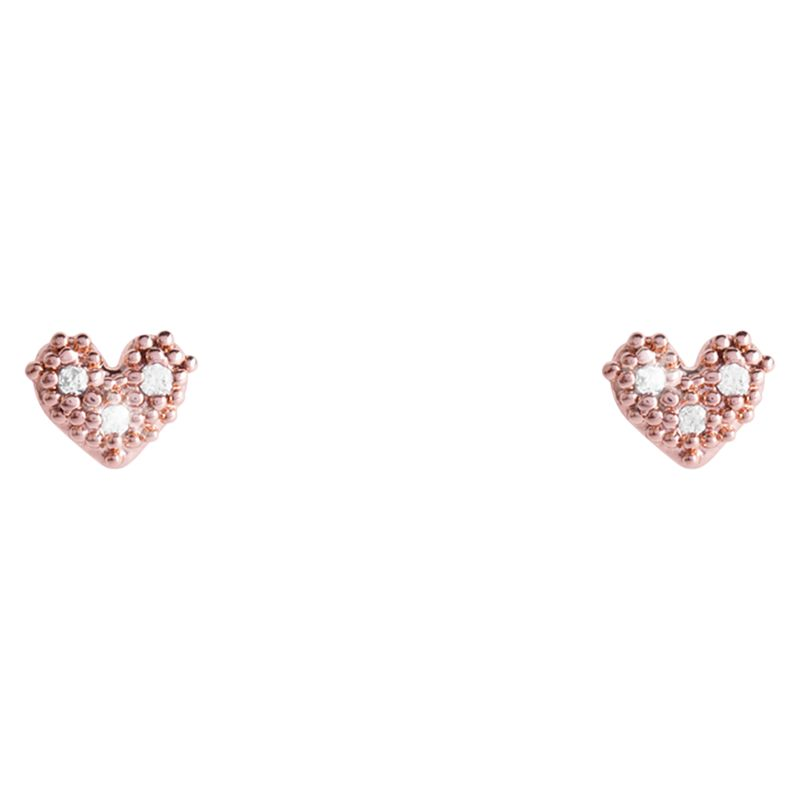 Joma Joma Lilou Heart Stud Earrings, Rose Gold