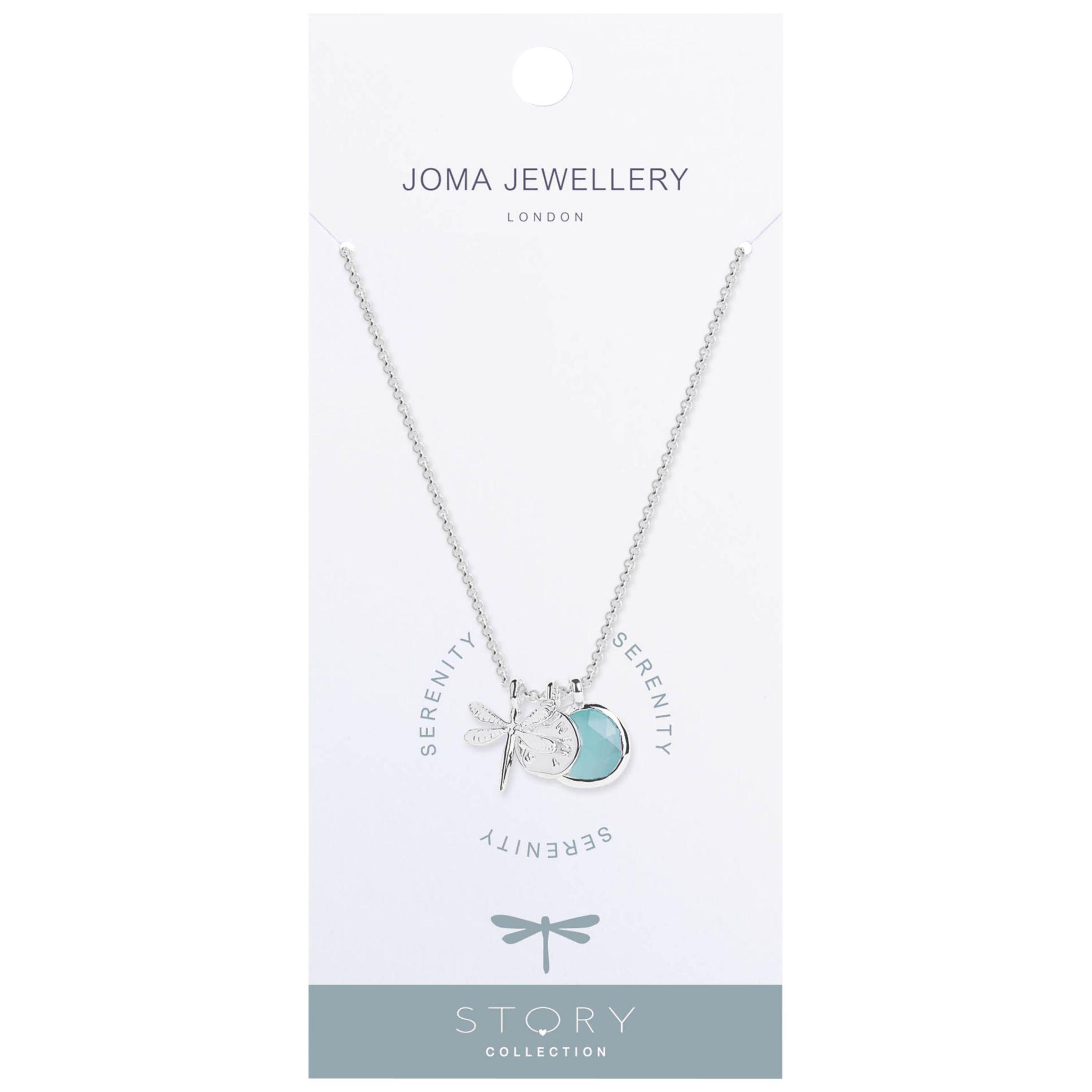 Joma Joma Serenity Story Dragonfly Pendant Necklace, Silver/Blue