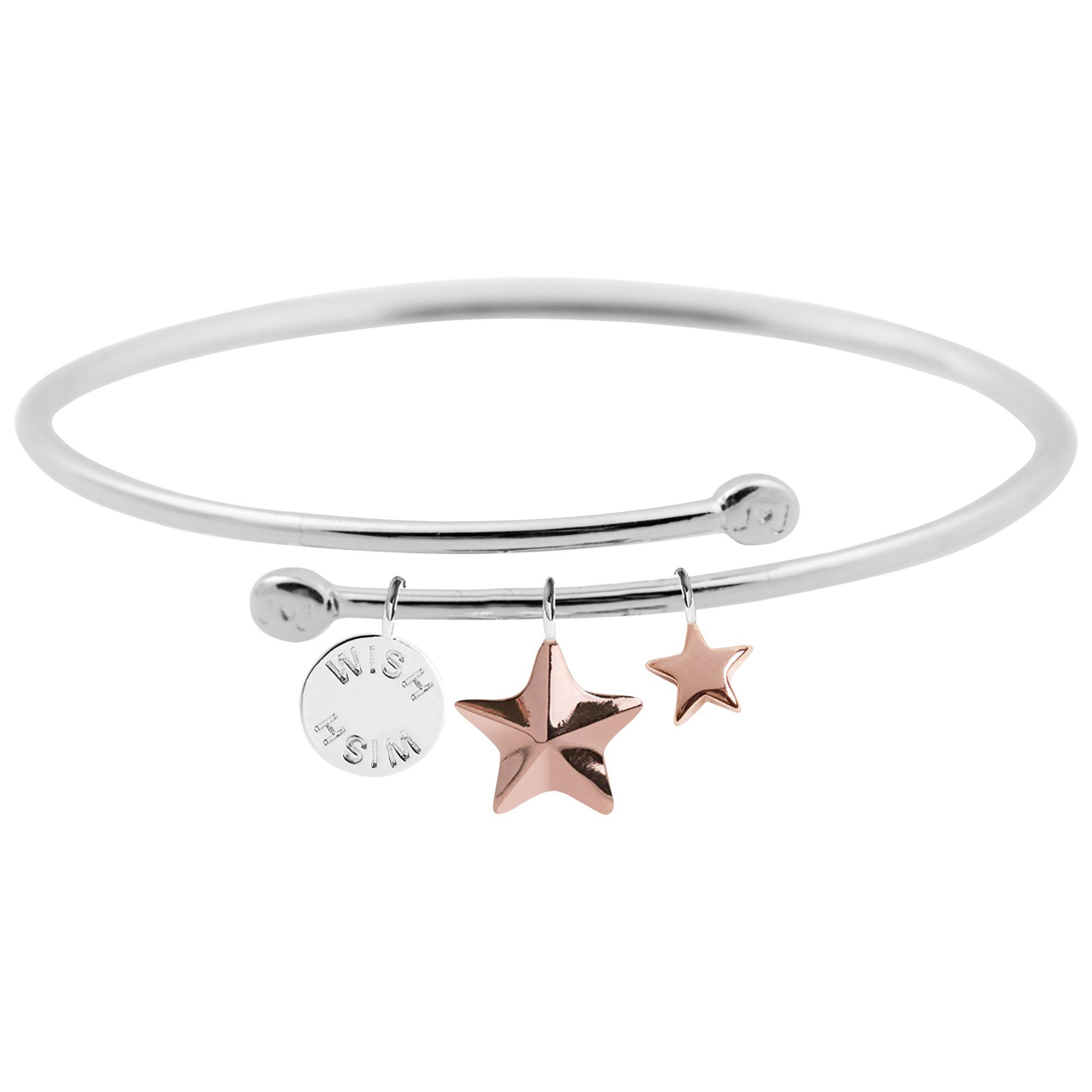 Joma Joma Wish Story Star Charm Bangle, Silver/Rose Gold