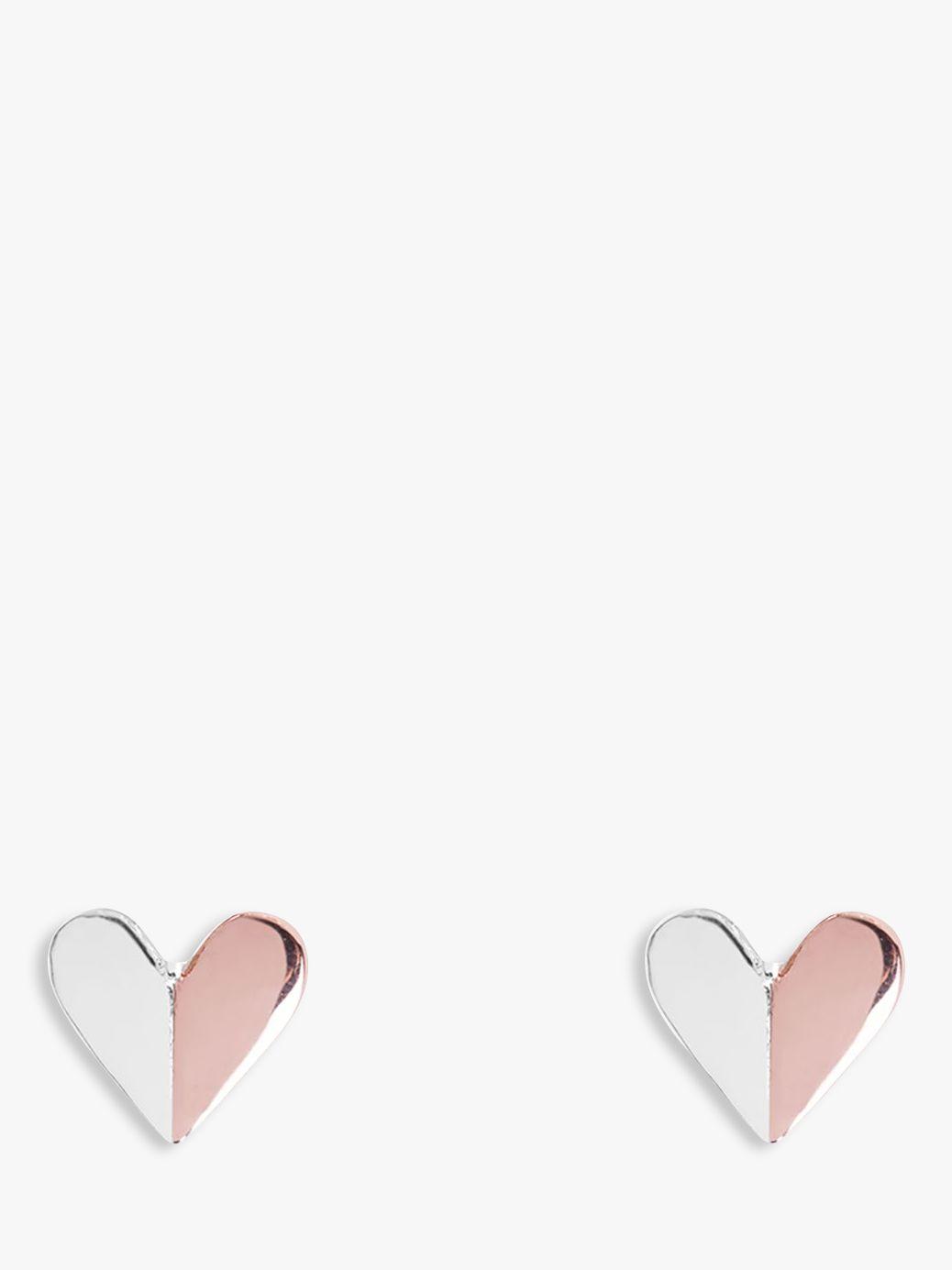 Joma Joma Valentina Heart Stud Earrings, Silver/Rose Gold