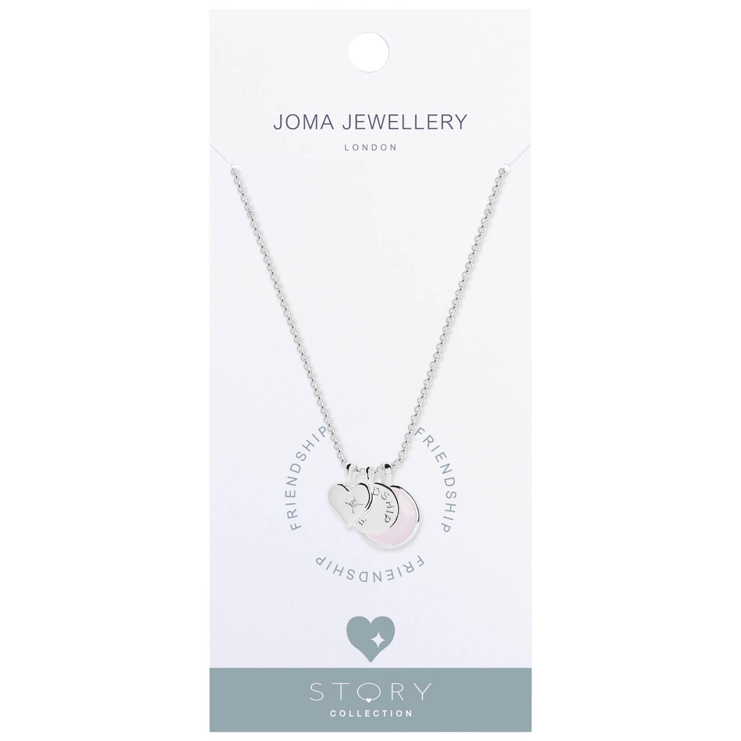 Joma Joma Friendship Story Heart Pendant Necklace, Silver