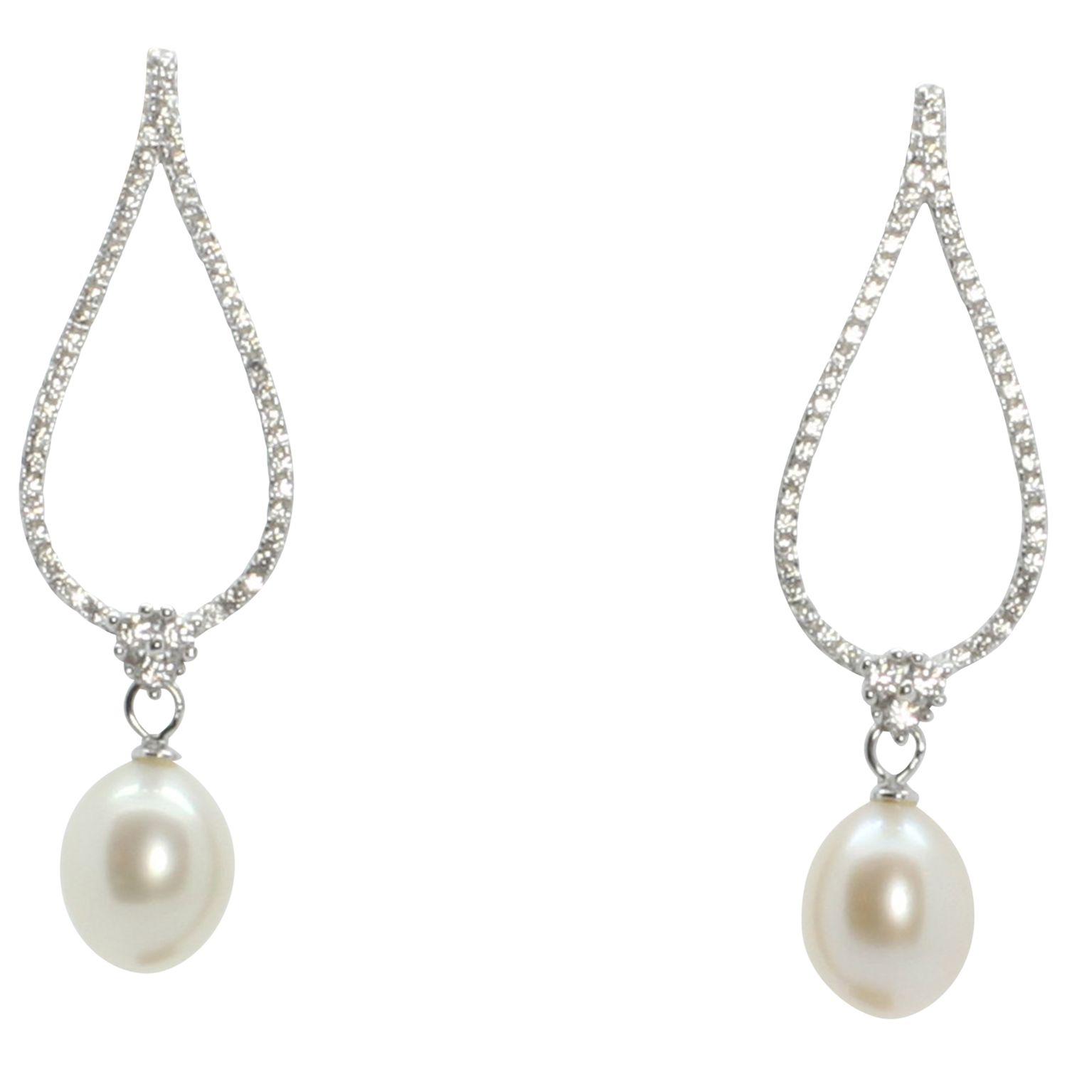 Lido Pearls Lido Pearls Large Open Oval Cubic Zirconia and Freshwater Pearl Drop Earrings, Silver/White
