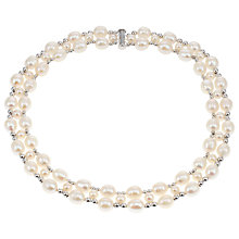 Buy Lido Pearls Two Row Freshwater Pearl and Bead Collar Necklace, Silver/White Online at johnlewis.com