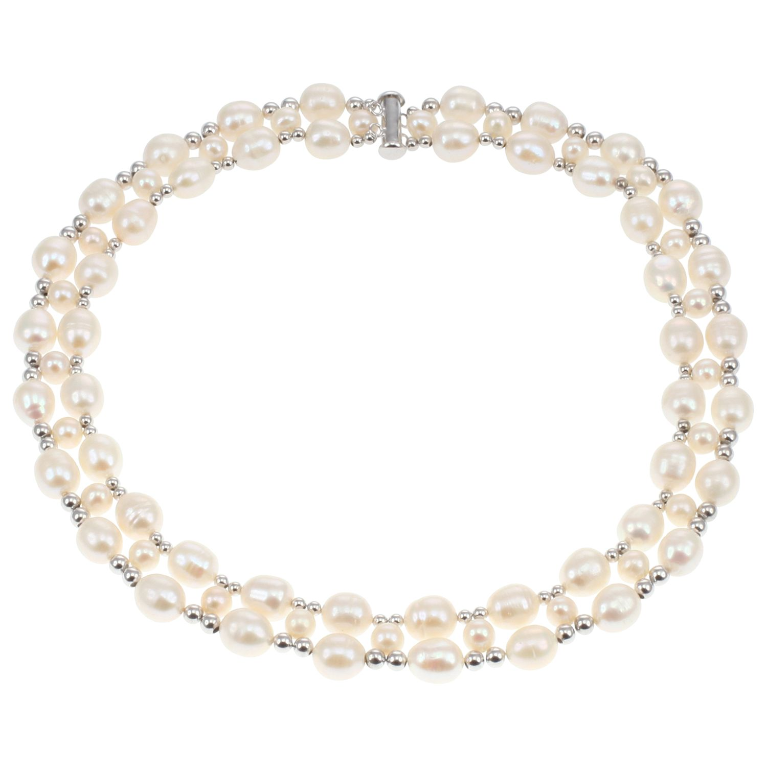 Lido Pearls Lido Pearls Two Row Freshwater Pearl and Bead Collar Necklace, Silver/White