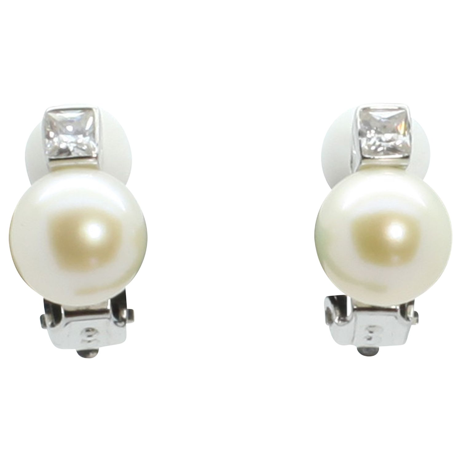 Lido Pearls Lido Pearls Freshwater Pearl and Cubic Zirconia Clip-On Earrings, White