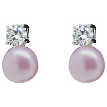 Buy Lido Pearls Freshwater Pearl and Cubic Zirconia Stud Earrings, Pink Online at johnlewis.com