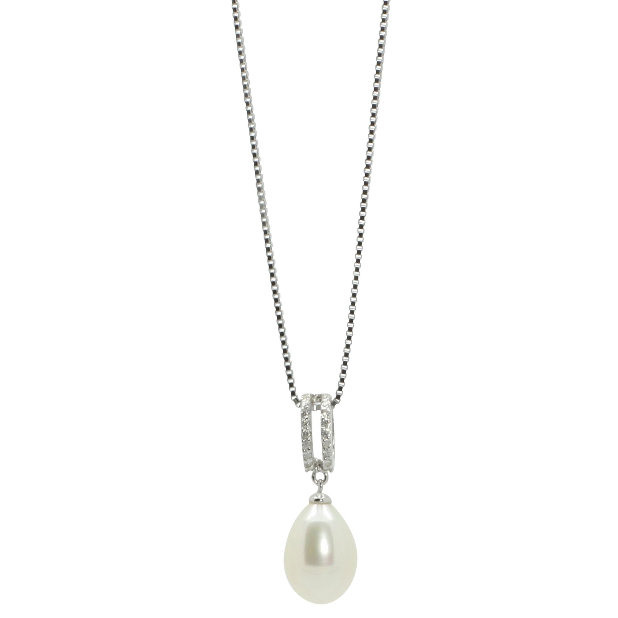 Lido Pearls Lido Pearls Double Row Cubic Zirconia Freshwater Pearl Drop Pendant Necklace, Silver/White