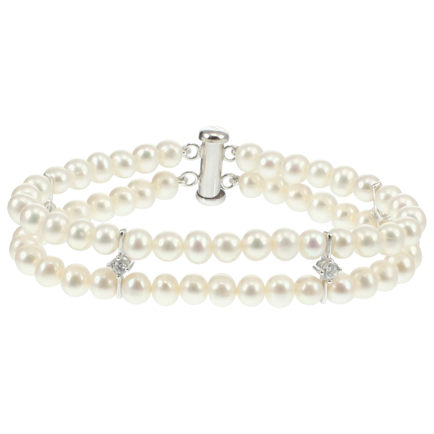 Lido Pearls Lido Pearls Freshwater Pearl Cubic Zirconia Detail Double Row Bracelet, White