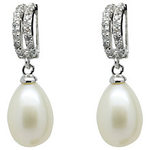 Buy Lido Pearls Double Row Cubic Zirconia Freshwater Pearl Drop Earrings, Silver/White Online at johnlewis.com