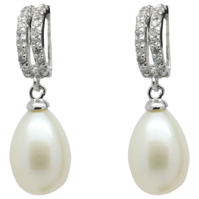 Lido Pearls Lido Pearls Double Row Cubic Zirconia Freshwater Pearl Drop Earrings, Silver/White