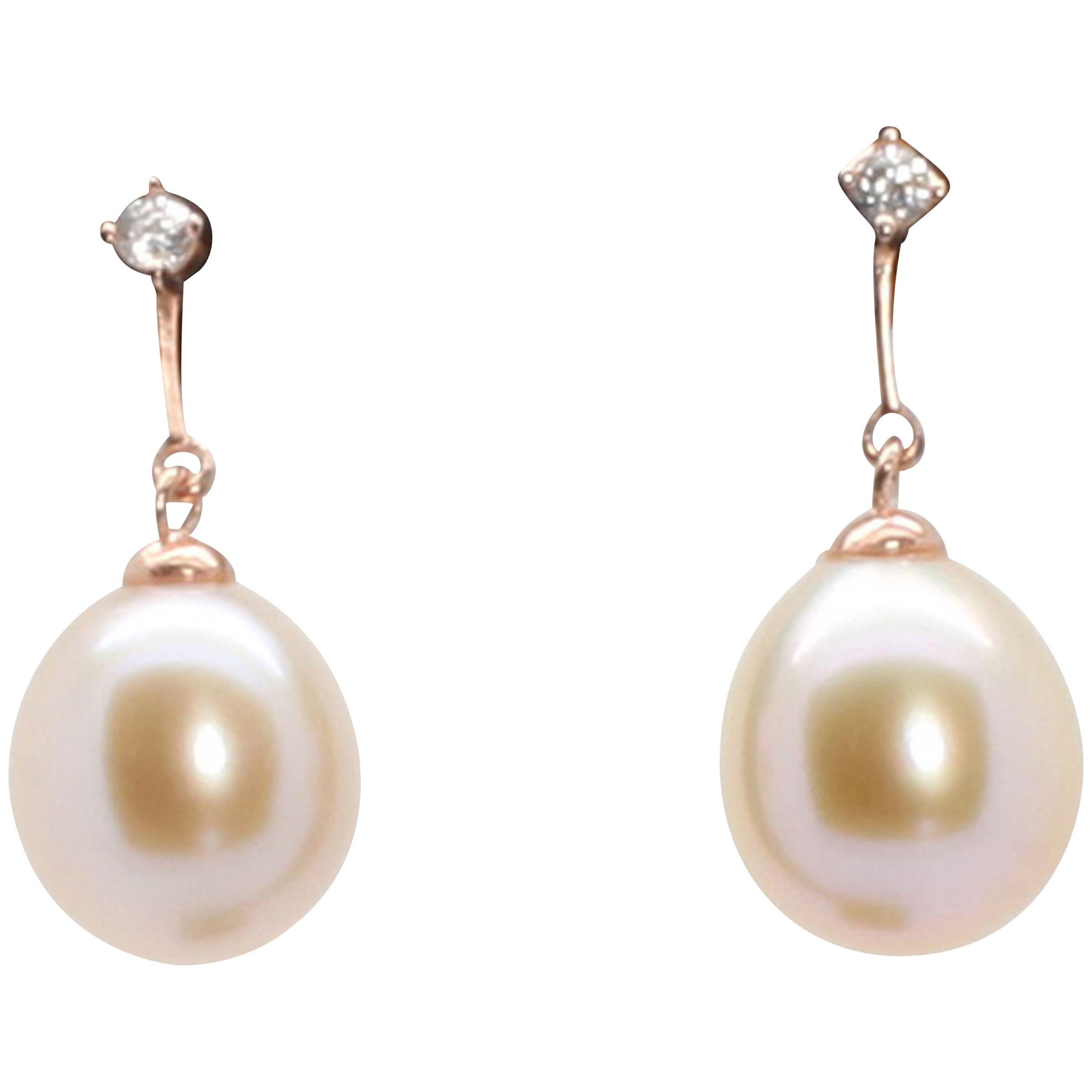 Lido Pearls Lido Pearls Oval Rice Freshwater Pearl Cubic Zirconia Stud Drop Earrings