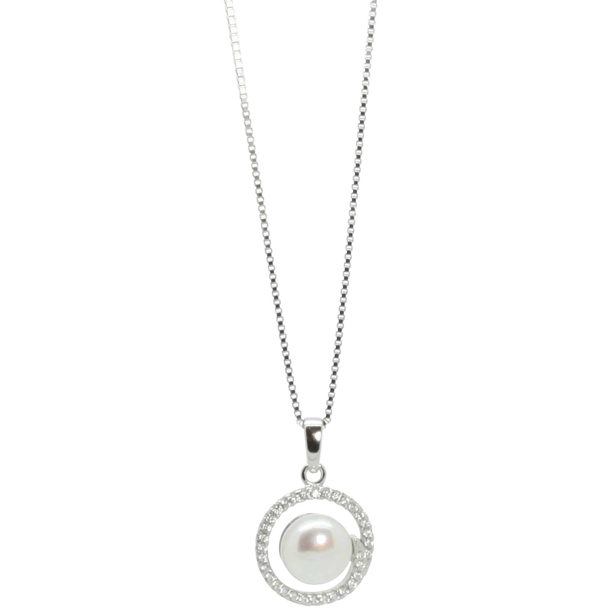 Lido Pearls Lido Pearls Round Cubic Zirconia Freshwater Pearl Pendant Necklace, Silver
