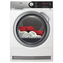 Buy AEG T7DEE835R Heat Pump Tumble Dryer, 8kg Load, A+ Energy Rating, White Online at johnlewis.com