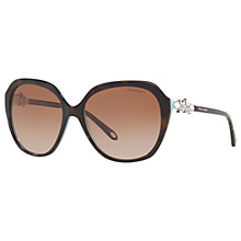 Buy Tiffany & Co TF4132HB Embellished Square Sunglasses, Tortoise/Brown Gradient Online at johnlewis.com