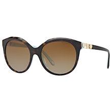 Buy Tiffany & Co TF4133 Polarised Round Sunglasses, Tortoise/Brown Gradient Online at johnlewis.com
