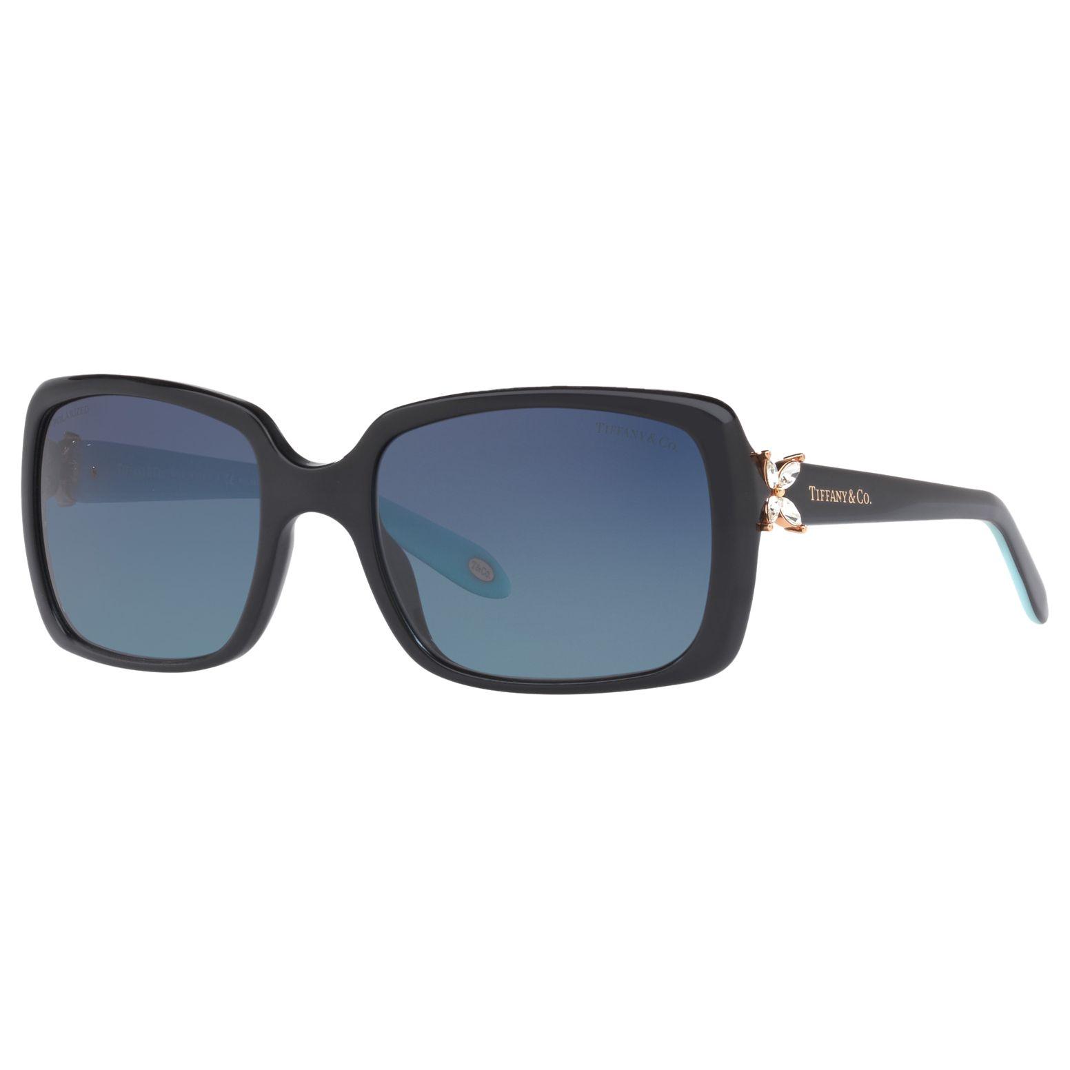 Tiffany & Co Tiffany & Co TF4047B Polarised Embellished Rectangular Sunglasses, Black/Sky Blue