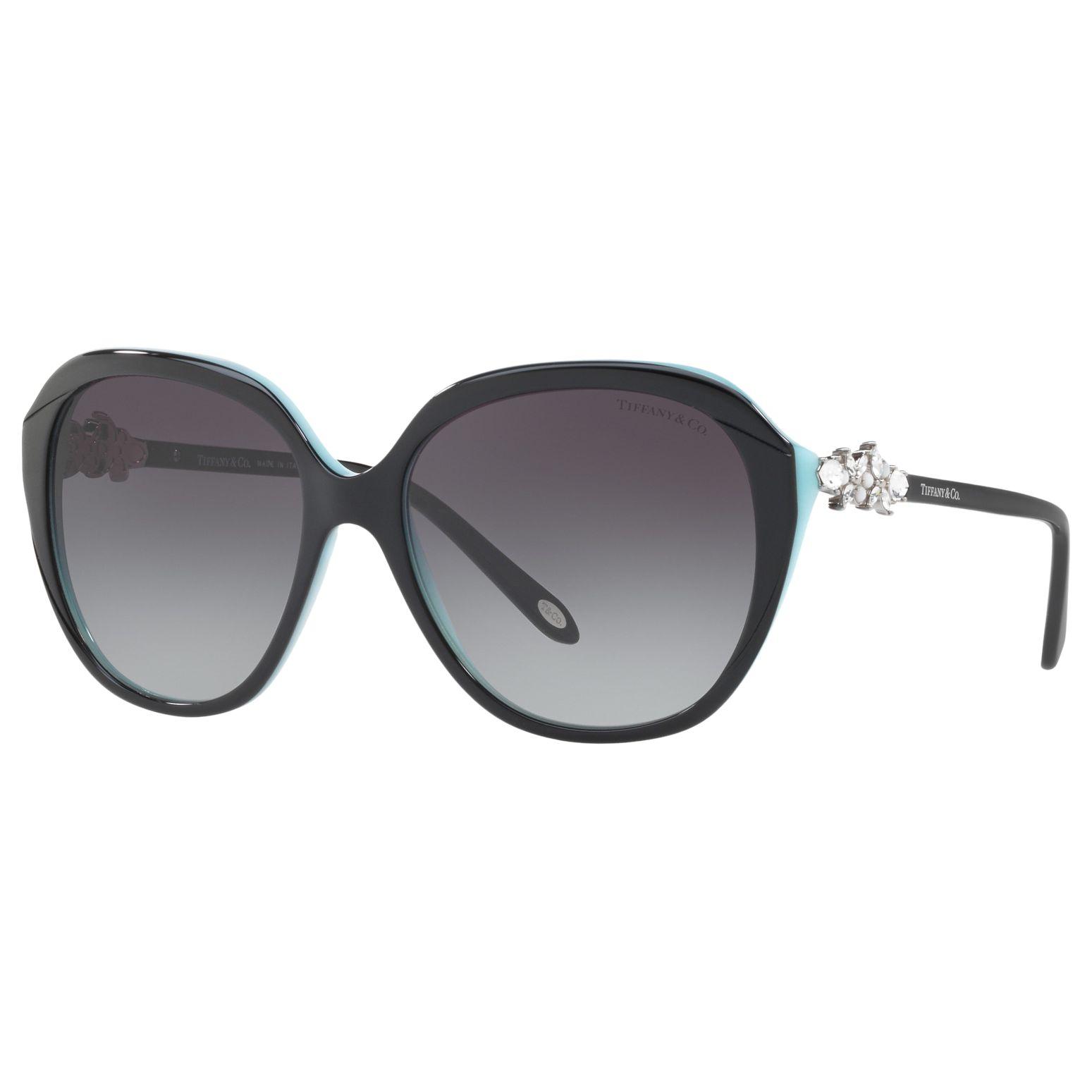 Tiffany & Co Tiffany & Co TF4132HB Embellished Square Sunglasses, Polished Black/Grey Gradient