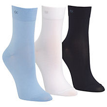 Buy Calvin Klein Light Touch Ankle Socks, Pack of 3, Sky Blue/Multi Online at johnlewis.com