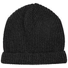 Buy John Lewis Made in Italy Cashmere Ribbed Beanie Hat, One Size, Charcoal Online at johnlewis.com