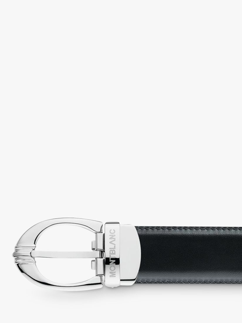 Montblanc Montblanc 3 Ring Motif Oval Buckle Reversible Leather Belt, One Size, Black/Brown