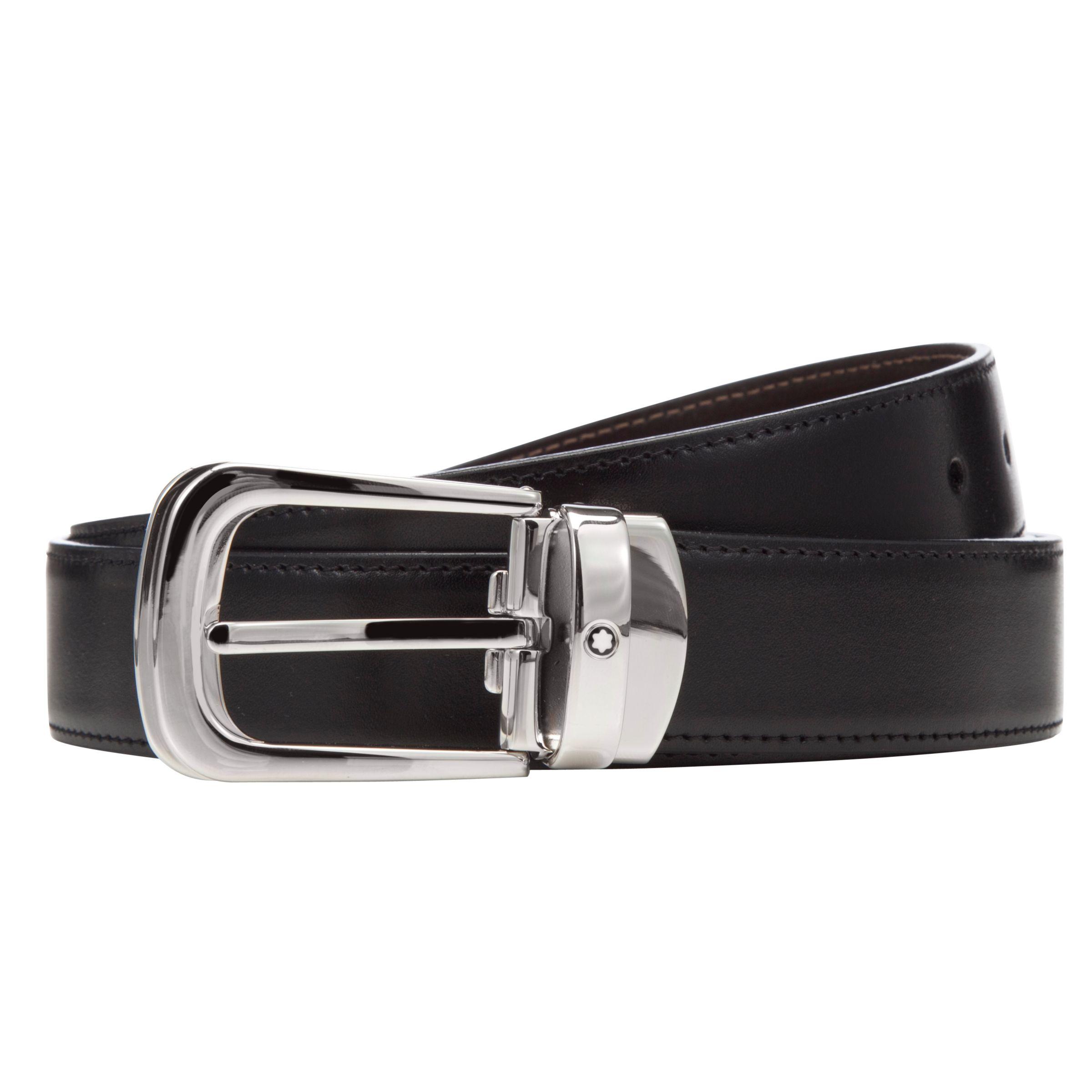 Montblanc Montblanc Reversible Leather Belt With Palladium Horseshoe Buckle, One Size, Black/Brown