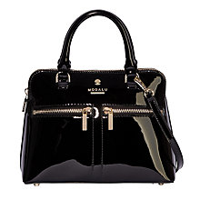 Buy Modalu Pippa Leather Micro Grab Bag, Black Patent Online at johnlewis.com