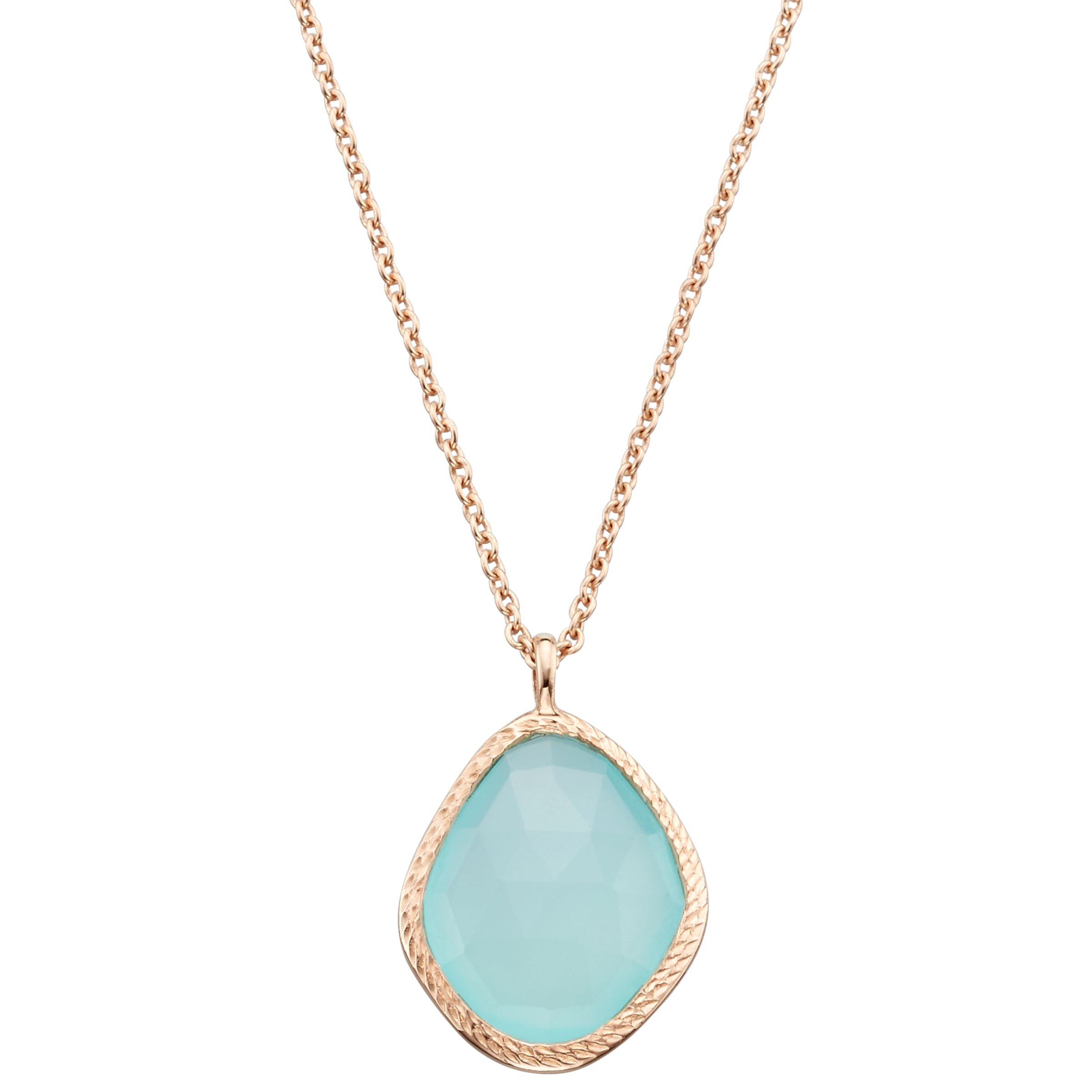 John Lewis Gemstones John Lewis Gemstones Aqua Chalcedony Organic Pendant Necklace, Rose Gold/Blue
