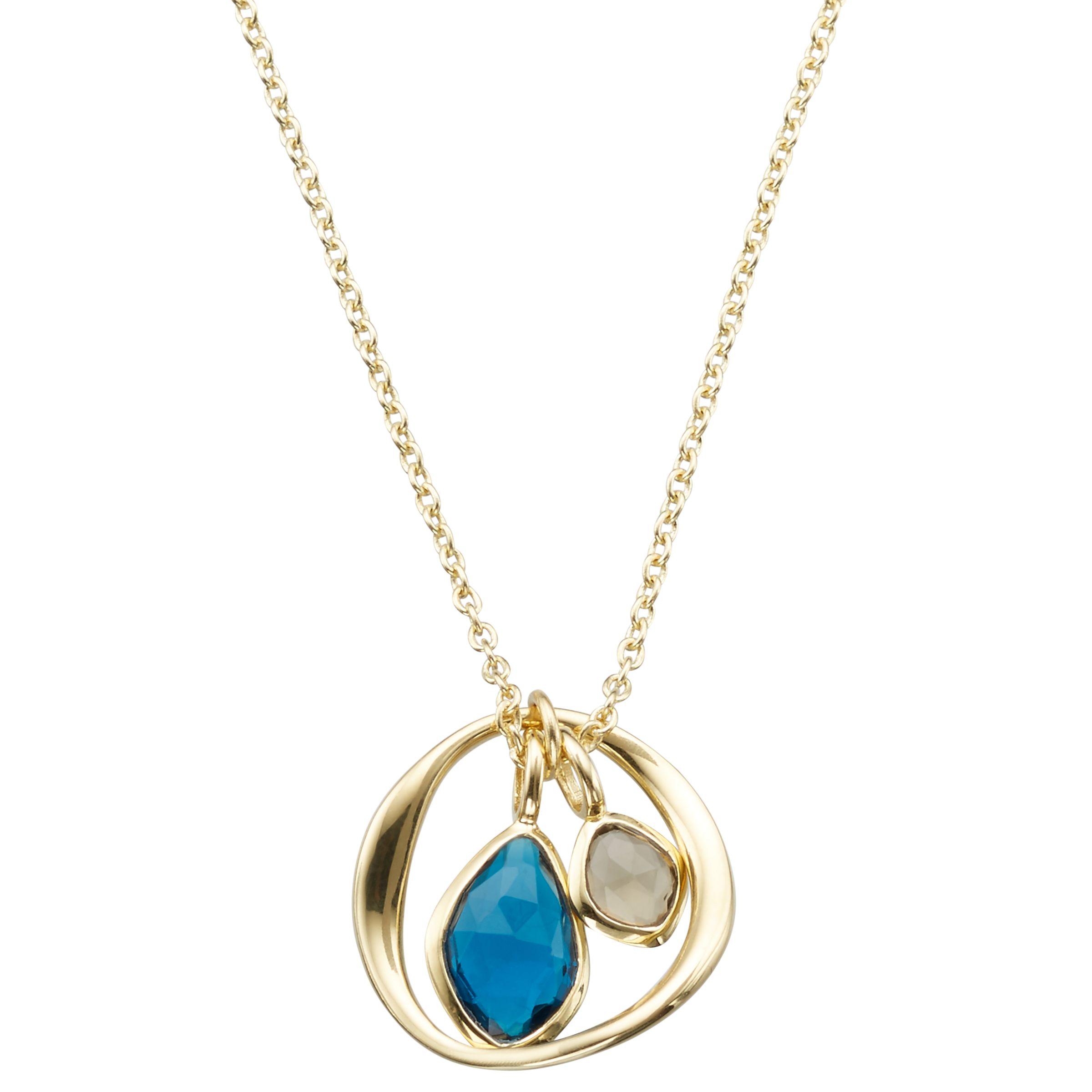 John Lewis Gemstones John Lewis Gemstones Open Circle Topaz and Quartz Pendant Necklace, Blue/Beige