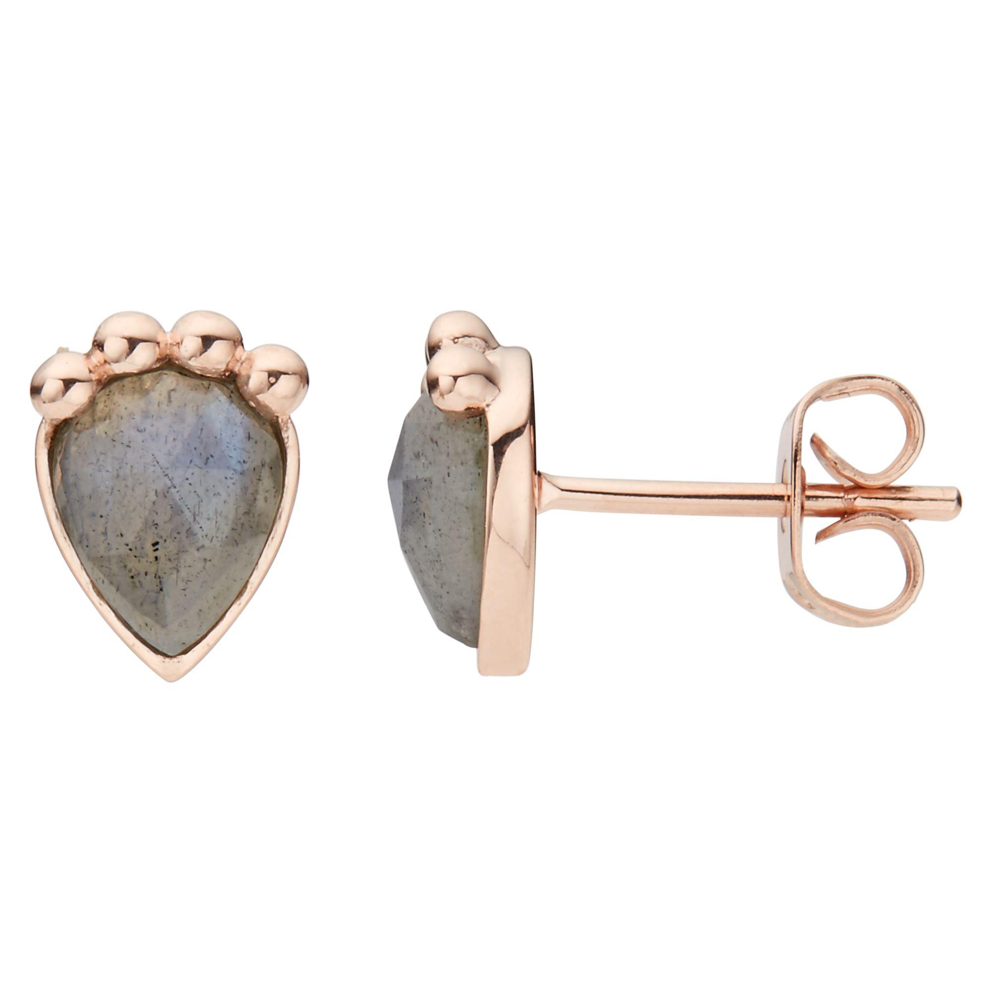 John Lewis Gemstones John Lewis Gemstones Labradorite Teardrop Stud Earrings, Rose Gold/Grey