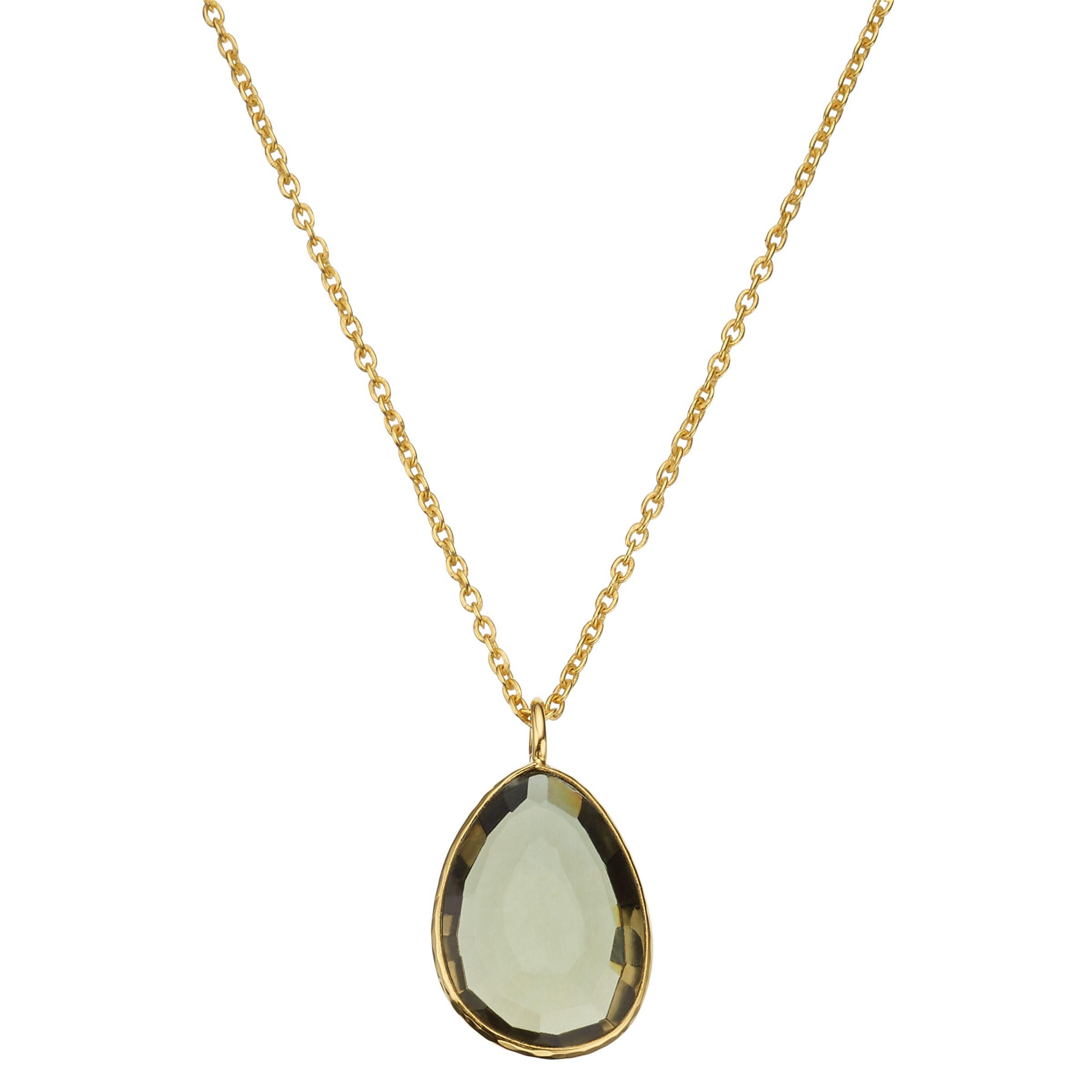 John Lewis Gemstones John Lewis Gemstones Organic Shape Quartz Pendant Necklace, Gold/Khaki