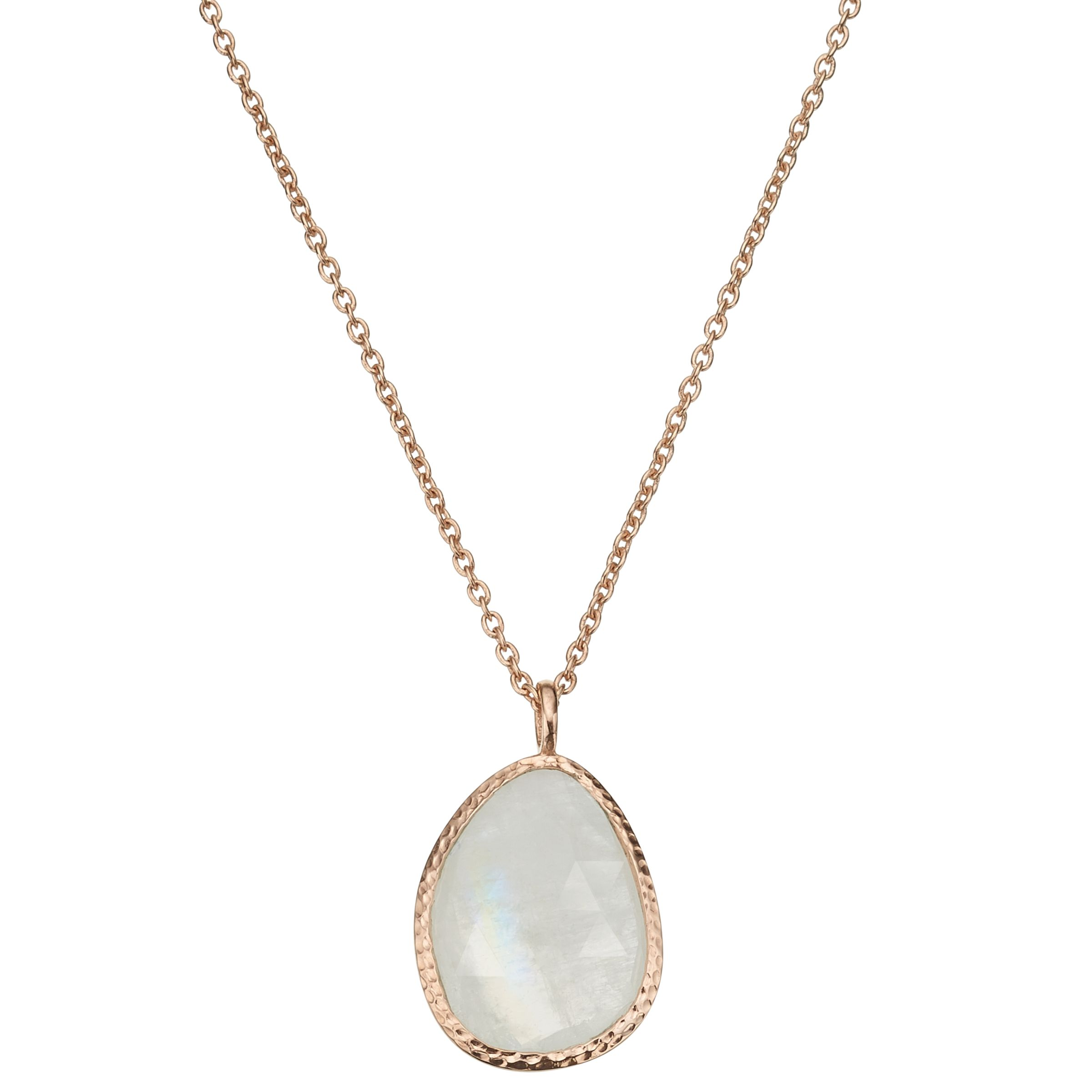 John Lewis Gemstones John Lewis Gemstones Organic Shape Rainbow Moonstone Pendant Necklace, Rose Gold/Multi