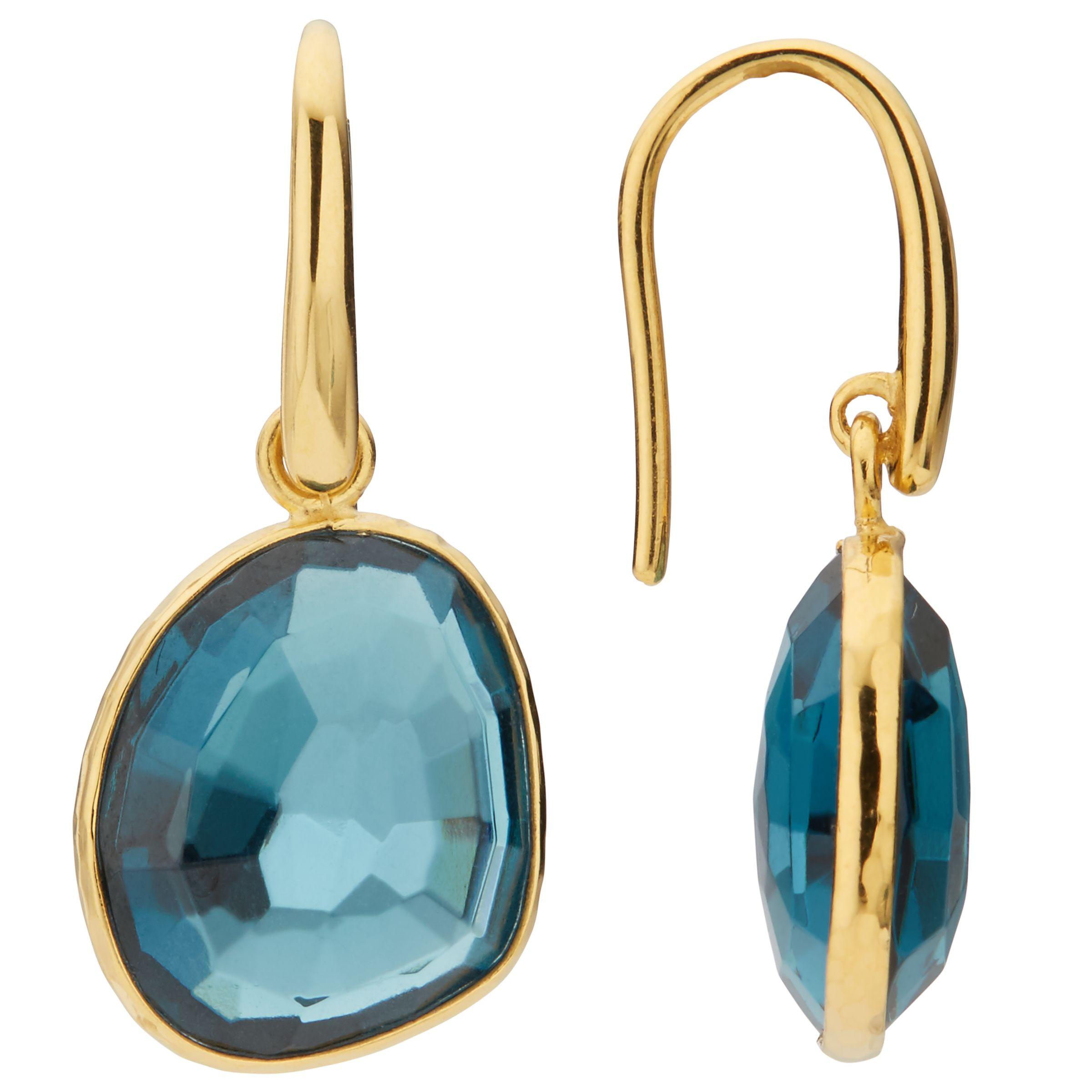 John Lewis Gemstones John Lewis Gemstones Topaz Simple Drop Earrings, Blue/Gold