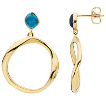 Buy John Lewis Gemstones Open Circle Topaz Drop Earrings, Gold/Blue Online at johnlewis.com