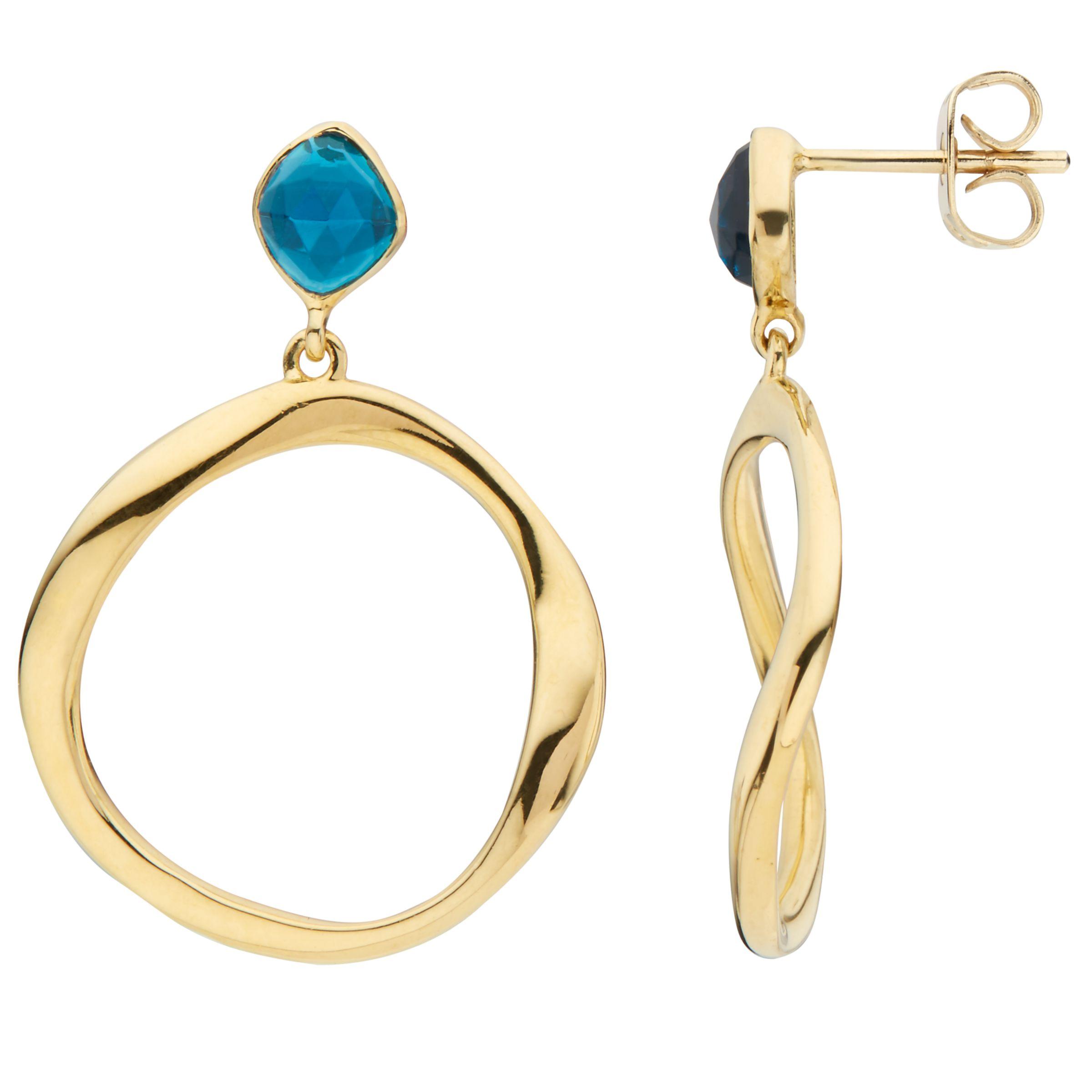 John Lewis Gemstones John Lewis Gemstones Open Circle Topaz Drop Earrings, Gold/Blue