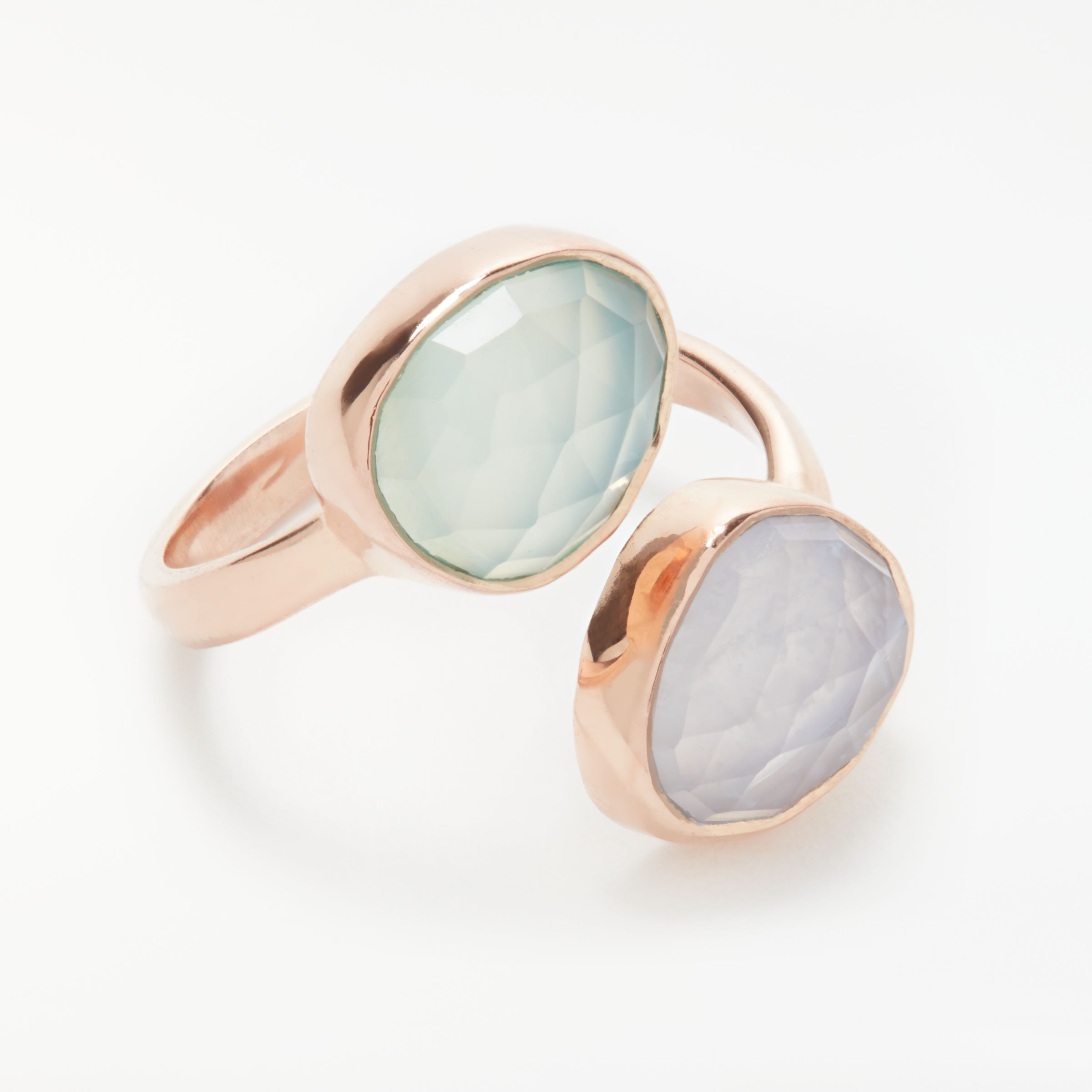 John Lewis Gemstones John Lewis Gemstones Aqua Chalcedony and Lace Agate Ring, Green/Pale Blue