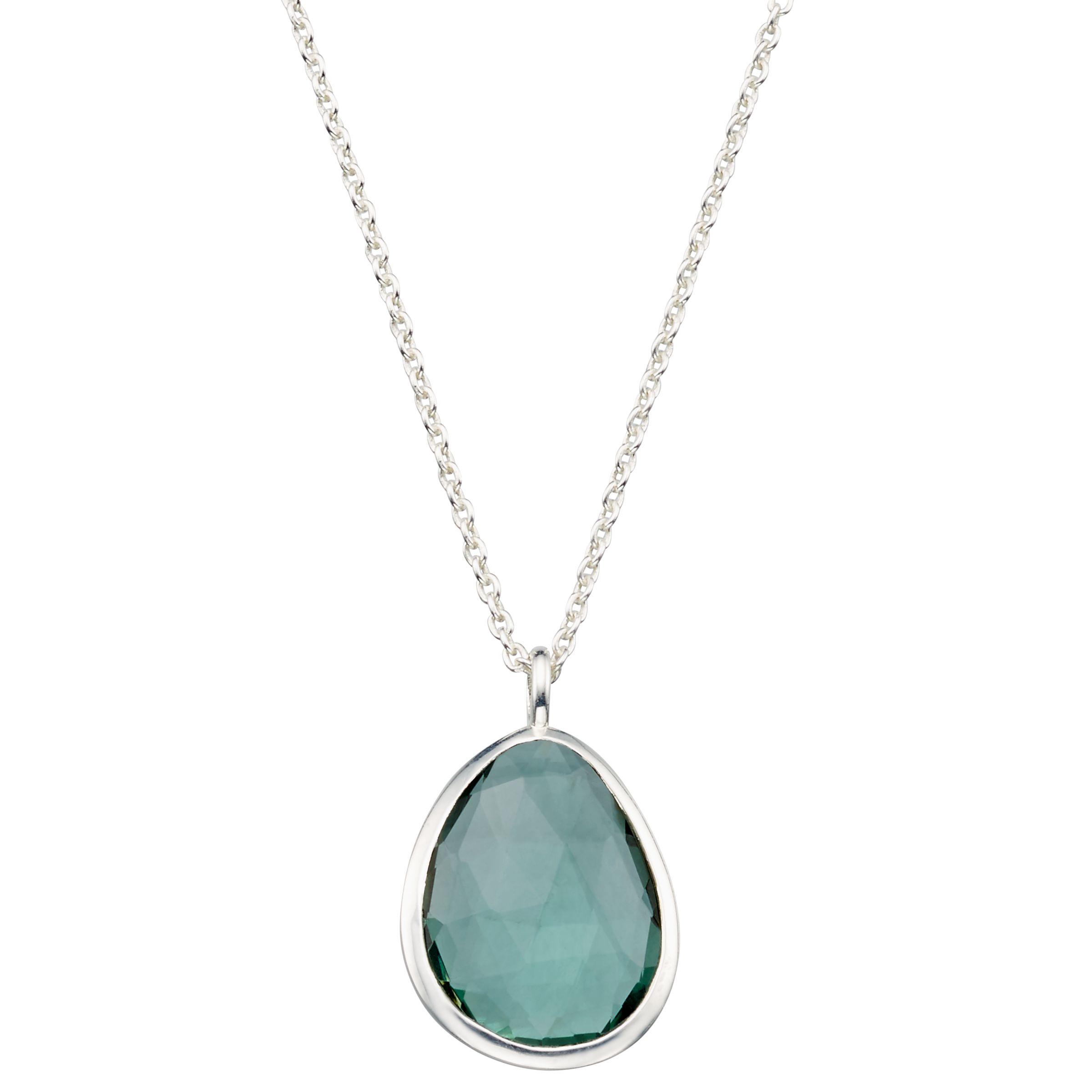 John Lewis Gemstones John Lewis Gemstones Organic Shape Quartz Pendant Necklace, Silver/Green