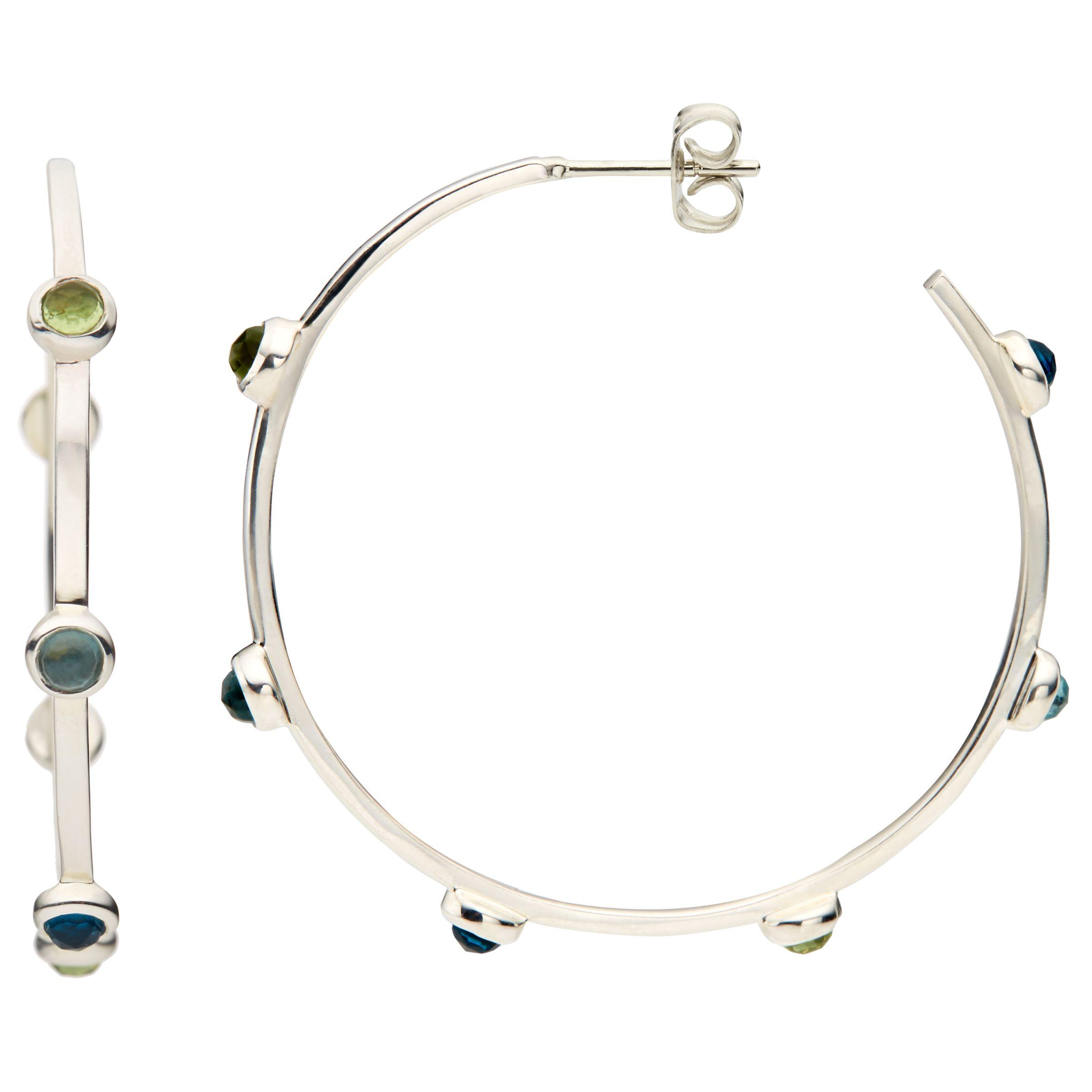 John Lewis Gemstones John Lewis Gemstones Large Multi Stone Hoop Earrings, Silver/Multi
